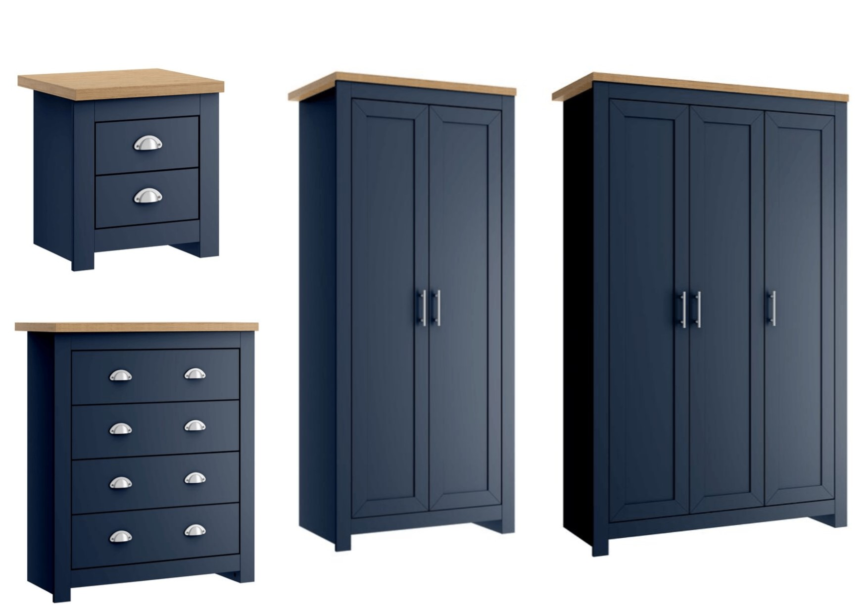 Birlea Winchester Bedroom Furniture Navy Blue Oak Tops Satin Silver Handles Ebay