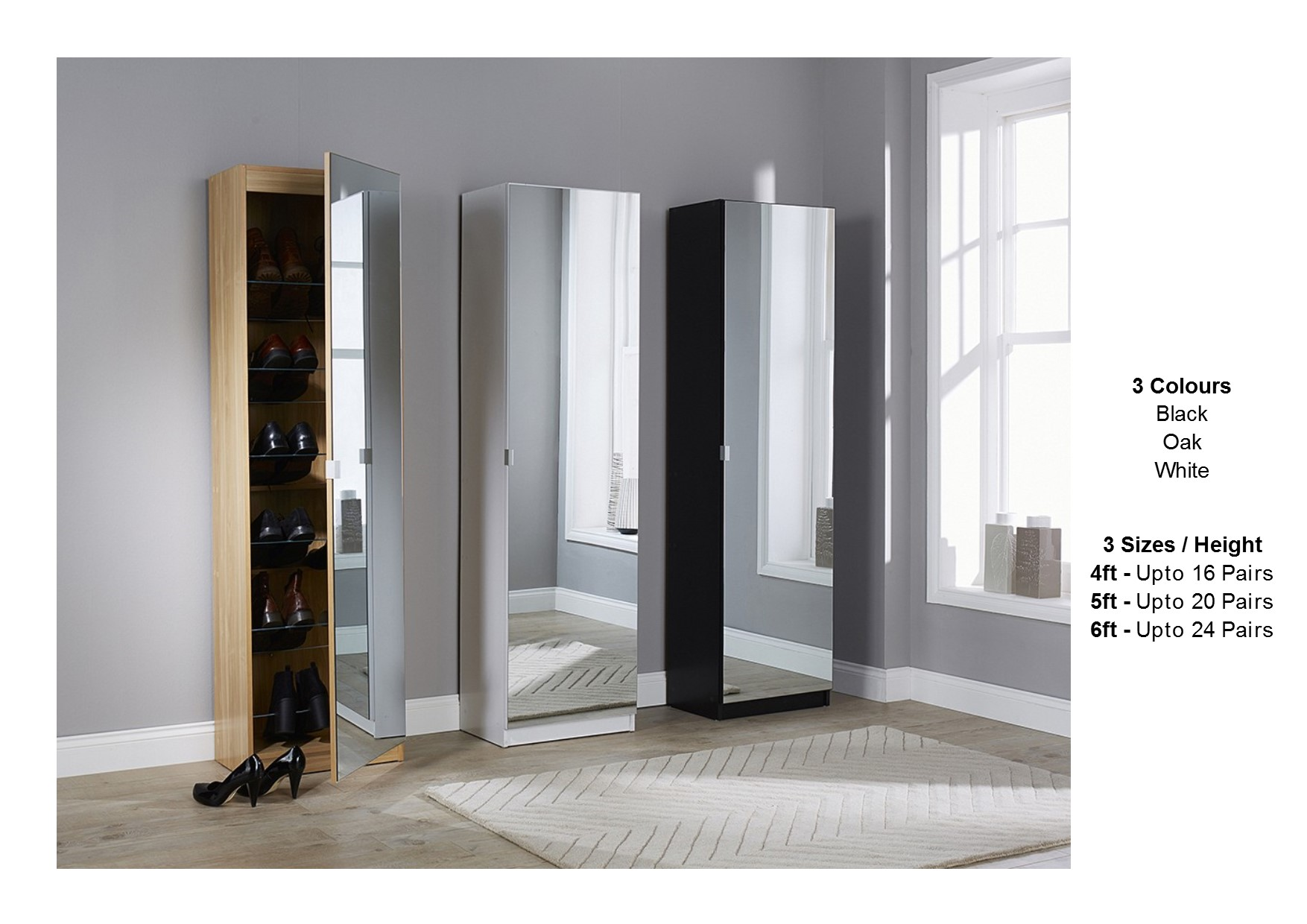 Mirrored Shoe Cabinet Storage Rack Full Mirror 3 Sizes