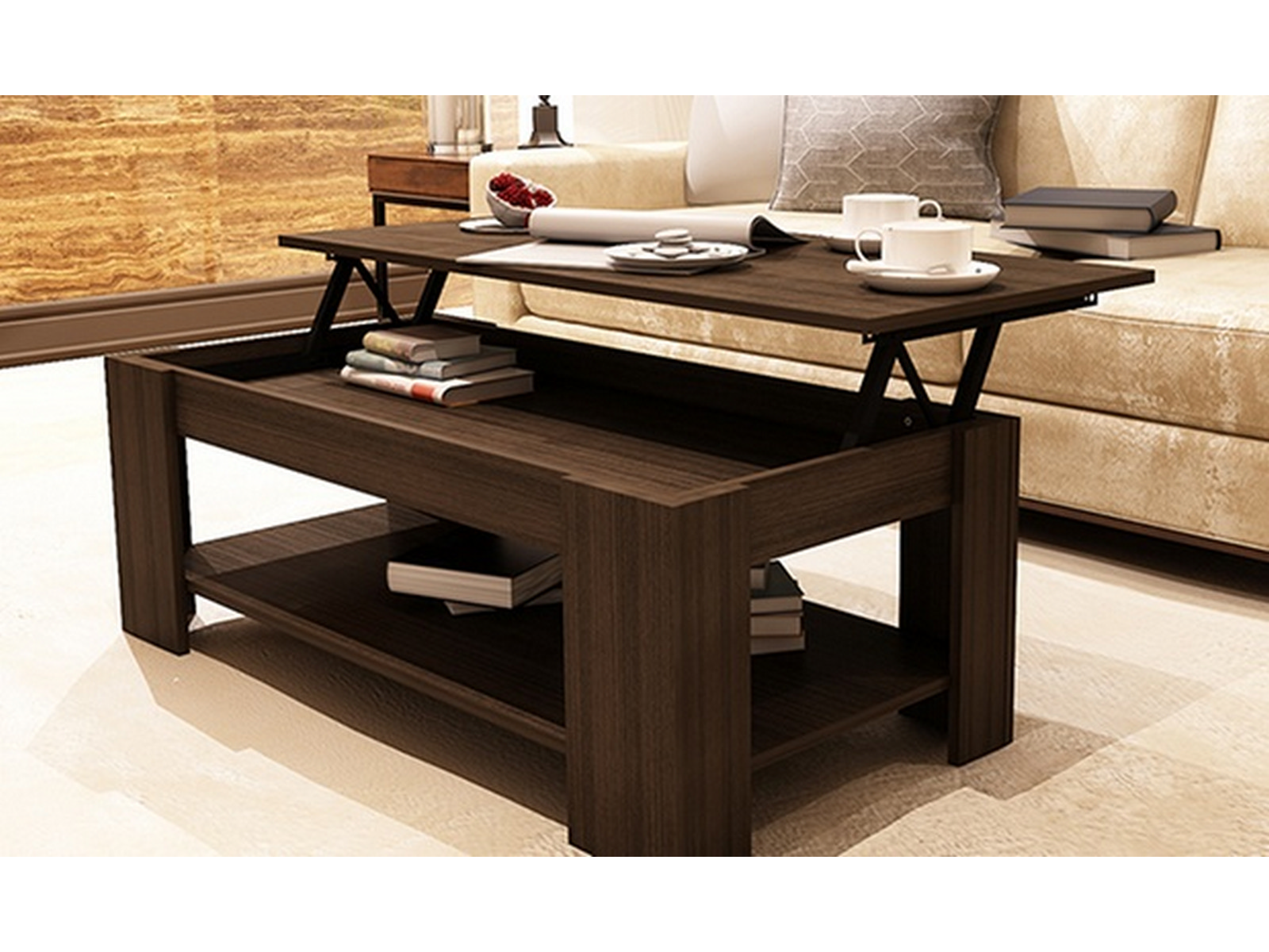 Couchtisch Mit Essfunktion New Caspian Espresso Lift Top Coffee Table With Storage