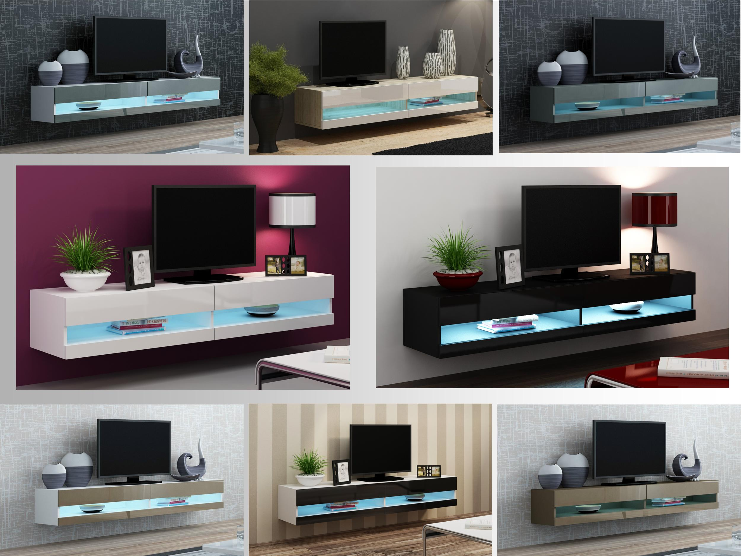 Floating Tv Wall Unit High Gloss Tv Stand Cabinet With Led Lights