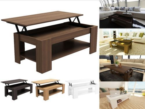 Caspian Modern Lift Up Top Coffee Table with Storage