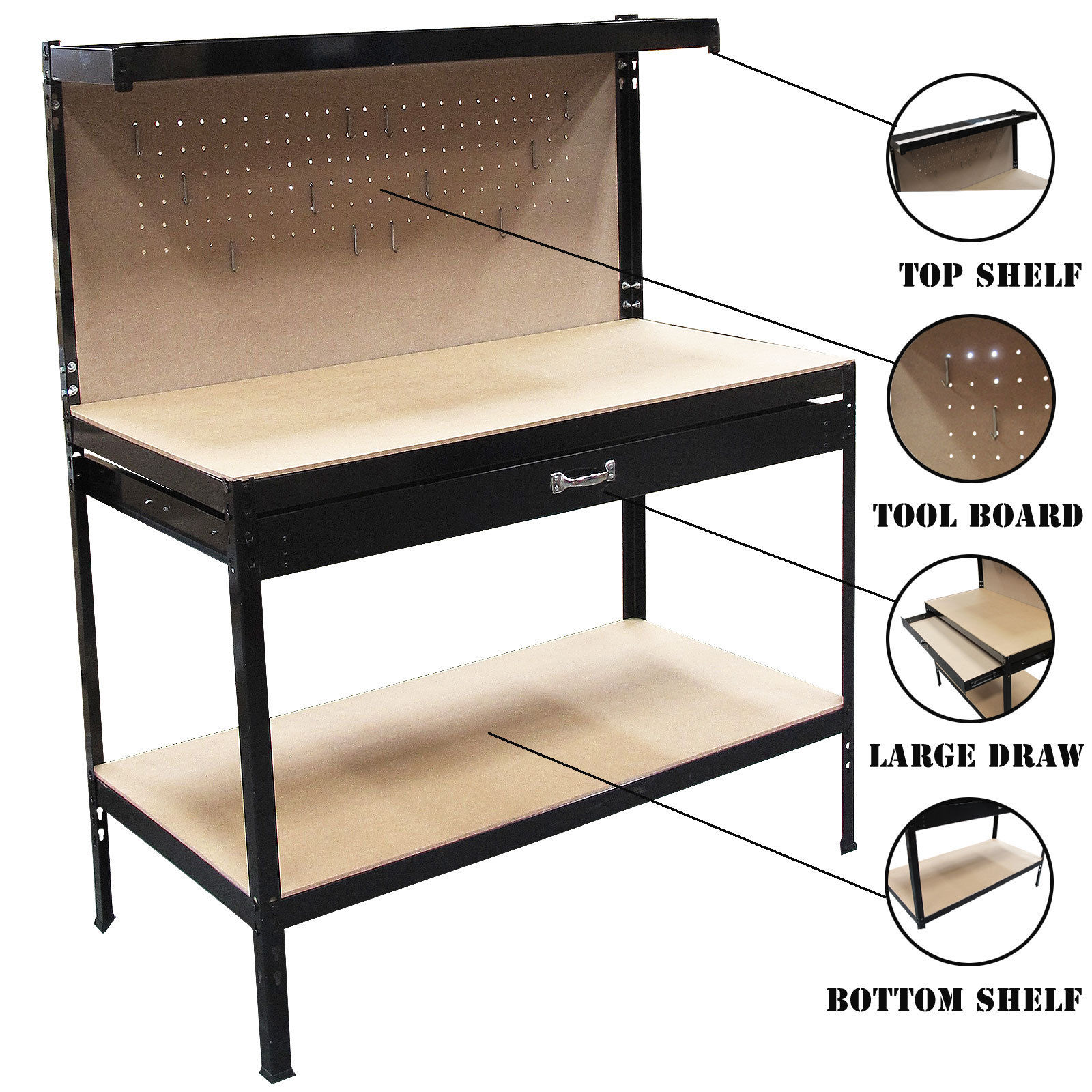 Garage Workbench And Storage Steel Garage Tool Box Work Bench Storage Pegboard Shelf
