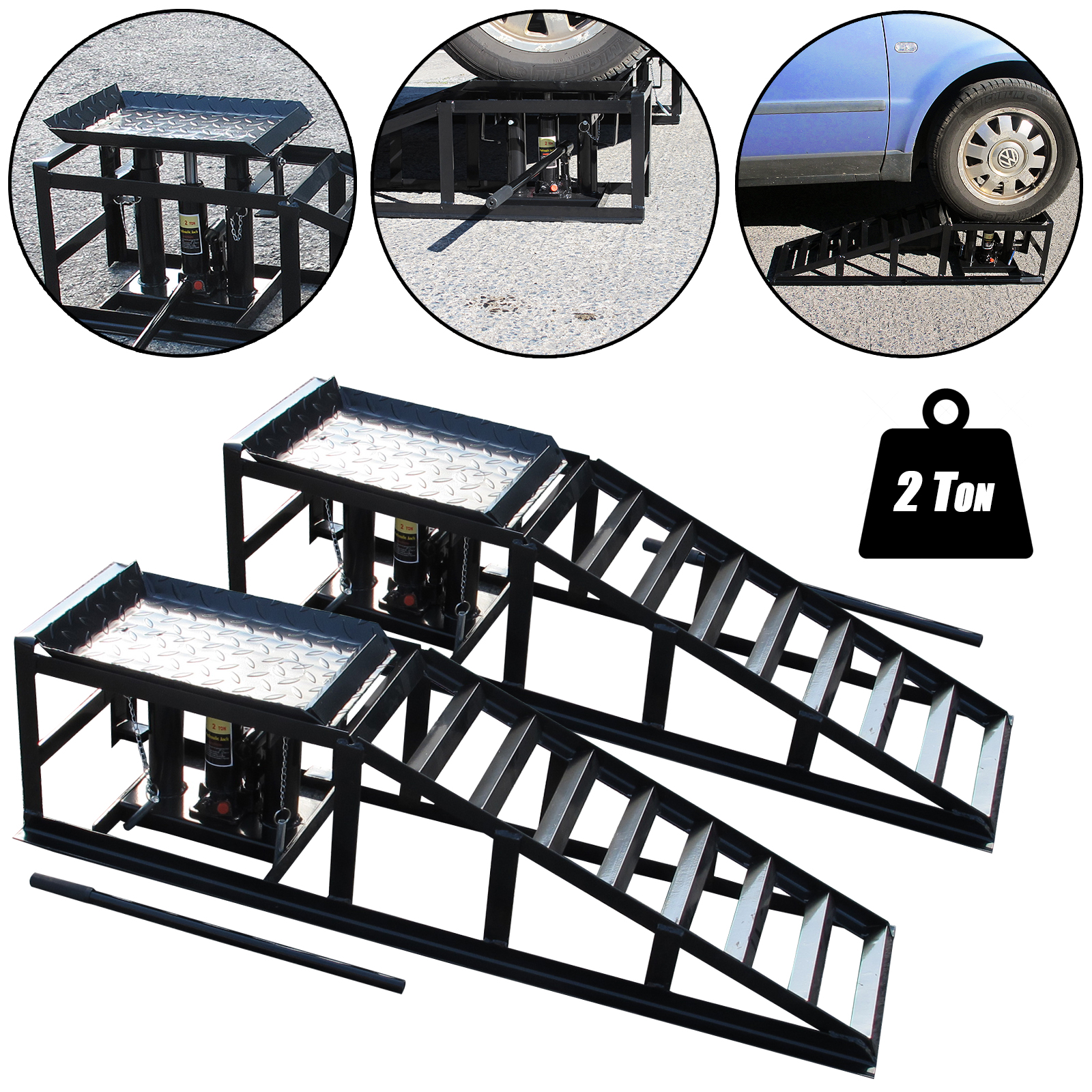 Domestic Garage Car Lift Details About Tech7 Vehicle Car Ramp Lift 2 Ton Hydraulic Jack Garage Heavy Duty Black Pair
