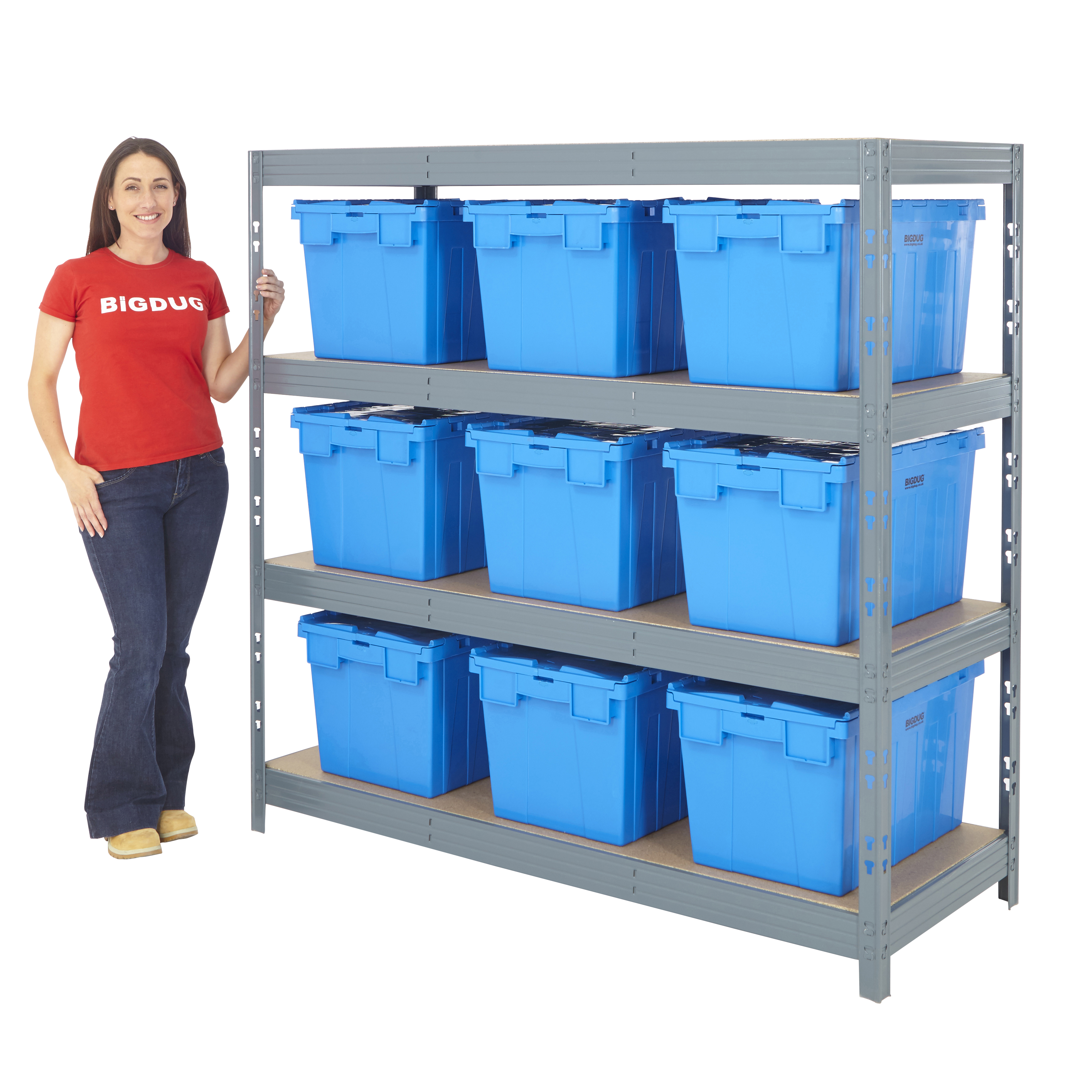Garage Storage Boxes Garage Shelving With Boxes Kits 4 Level Bay Storage Pick