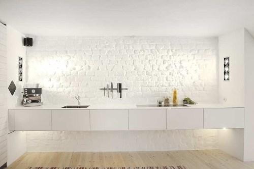 Cocina en monoambiente en estilo moderno y escandinavo