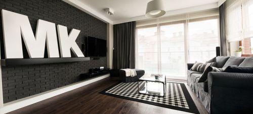 Interiores departamento en blanco y negro 1