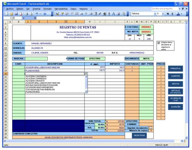 Facturacion en excel con control de inventarios y formato cbb en - formato inventario en excel
