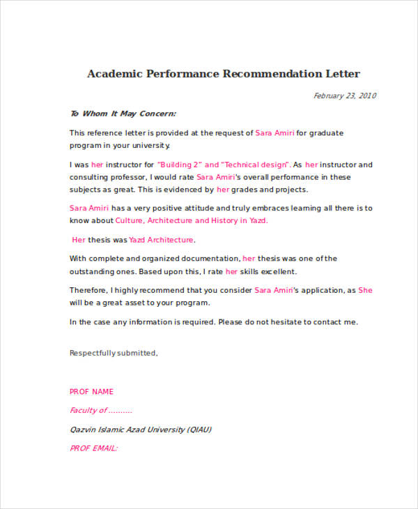 79+ Examples of Recommendation Letters - recommendation letter
