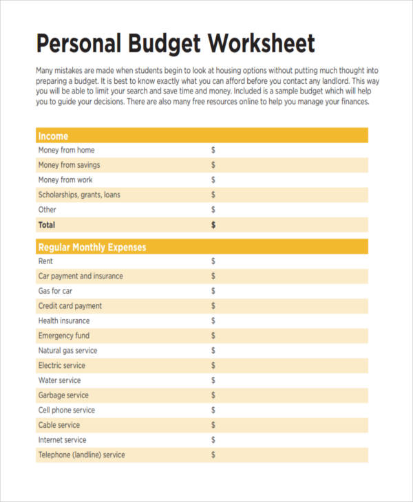 14+ Personal Budget Examples  Samples - Basic Personal Budget
