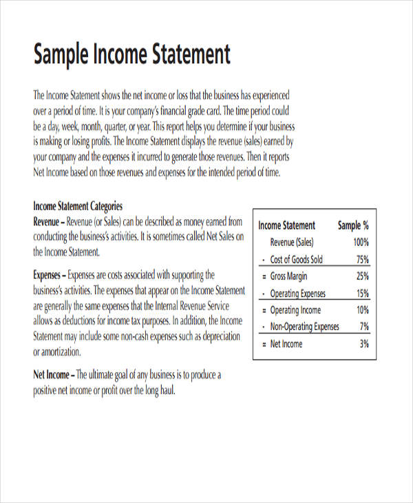 50+ Examples of Income Statement - Sample Simple Income Statement
