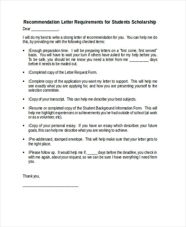 79+ Examples of Recommendation Letters - recommendation letter for student scholarship