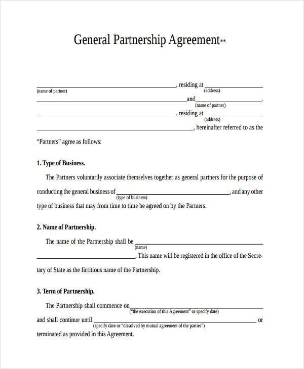 49+ Examples of Partnership Agreements - partnership agreement free template