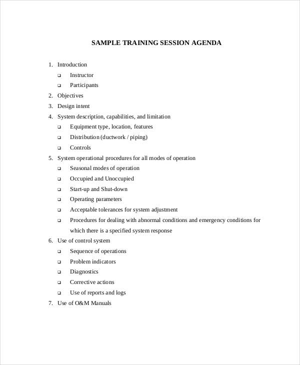 23+ Training Agenda Examples  Samples - Sample Training Agenda