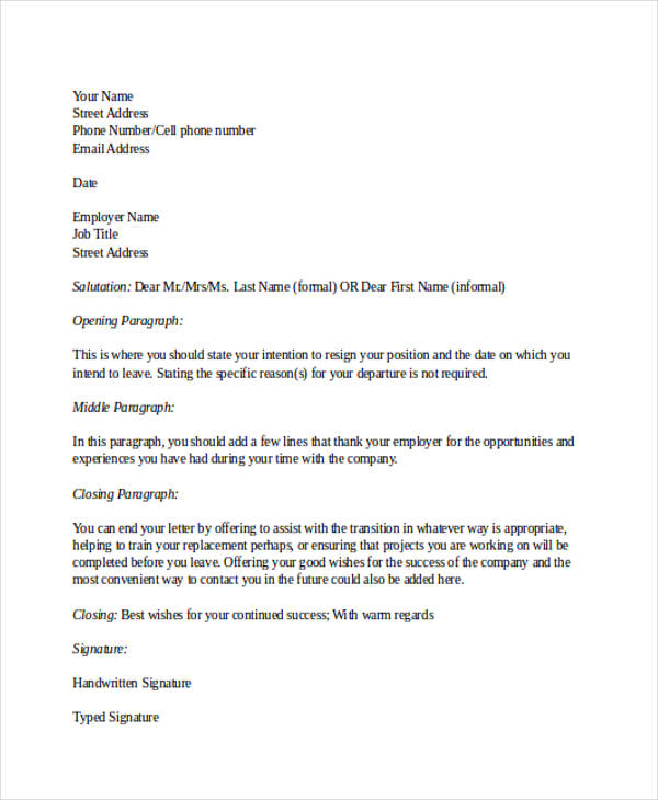 22+ Two Weeks Notice Letter Examples  Samples - DOC, PDF