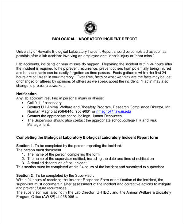 34+ Incident Report Examples  Samples - PDF, DOC, Pages - Sample Incident Report