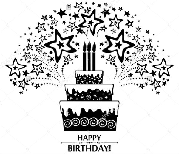 happy birthday card black and white