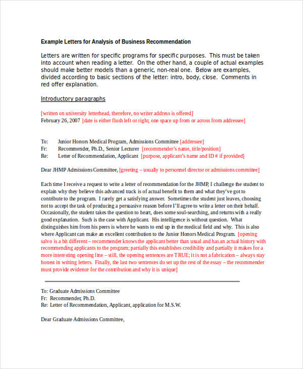 example of letter of recommendation for graduate school