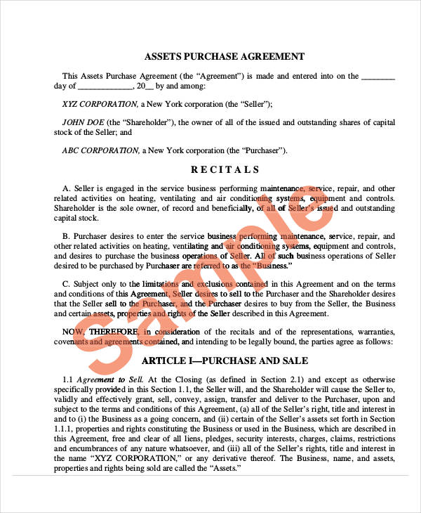 47+ Business Agreement Examples \ Samples - asset purchase agreement