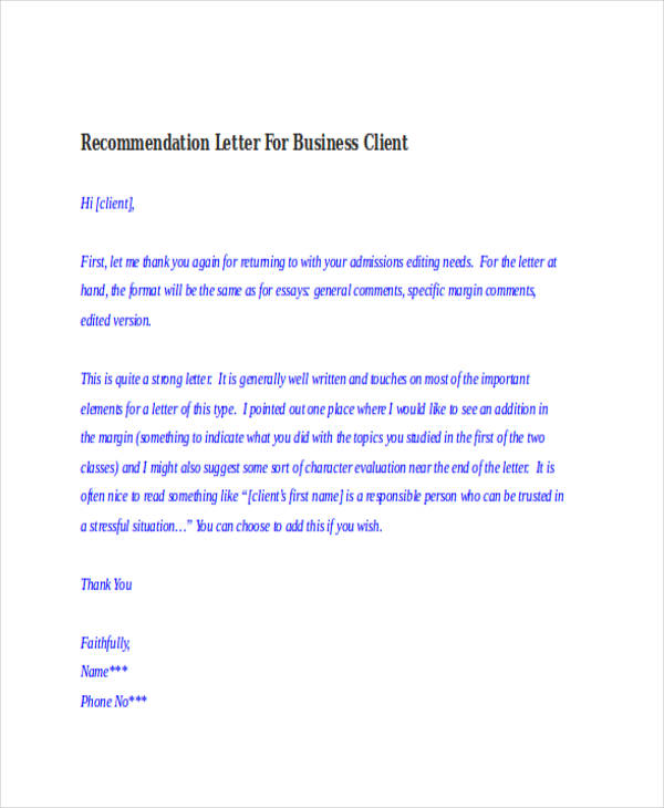 82+ Recommendation Letter Examples amp; Samples - DOC, PDF