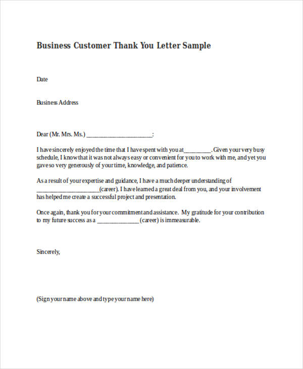 69+ Thank-You Letter Examples - business thank you letters