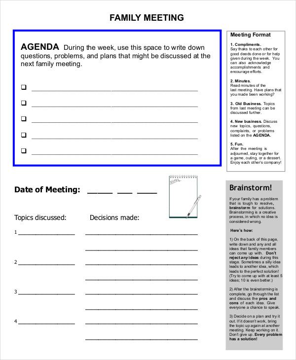 54+ Meeting Agenda Examples - family agenda