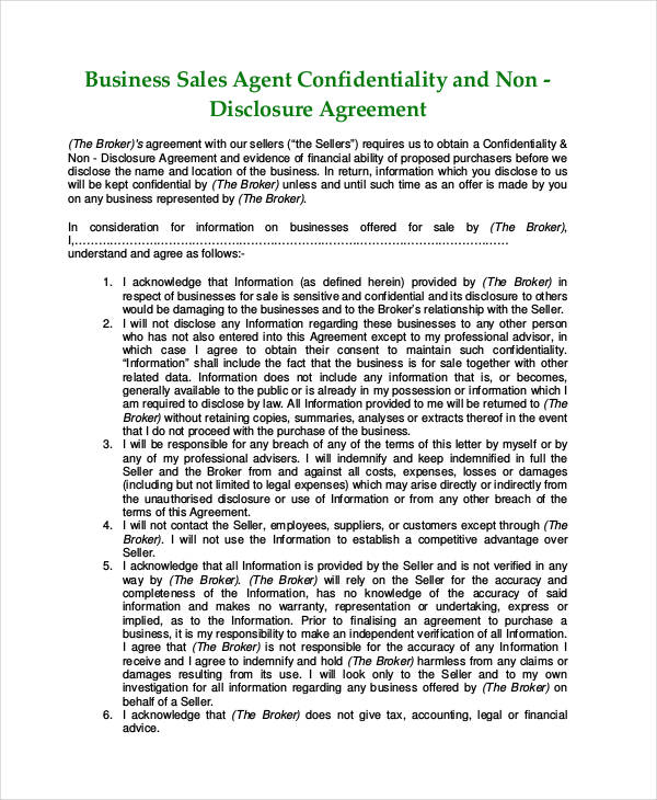 53+ Business Agreement Examples  Samples - business non disclosure agreement