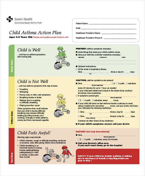 Sample Asthma Action Plan Best Medical Action Plans Images On