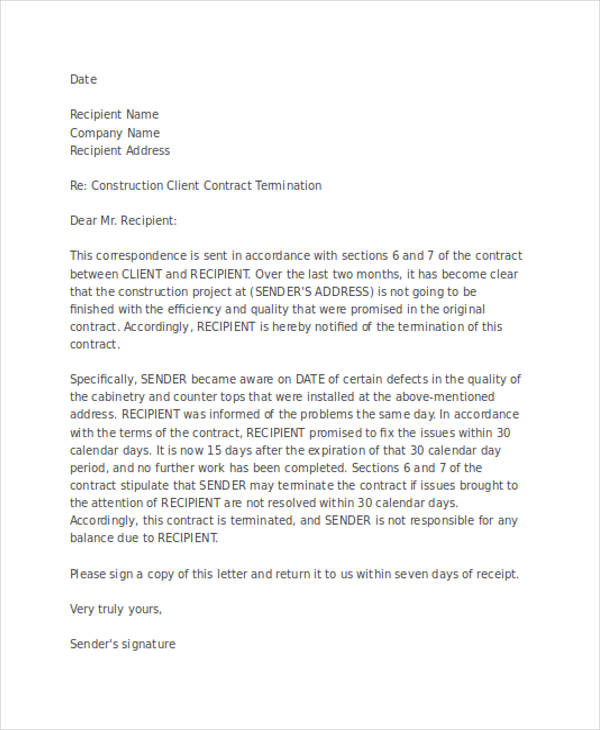 53+ Termination Letter Examples  Samples - PDF, DOC - simple contract examples