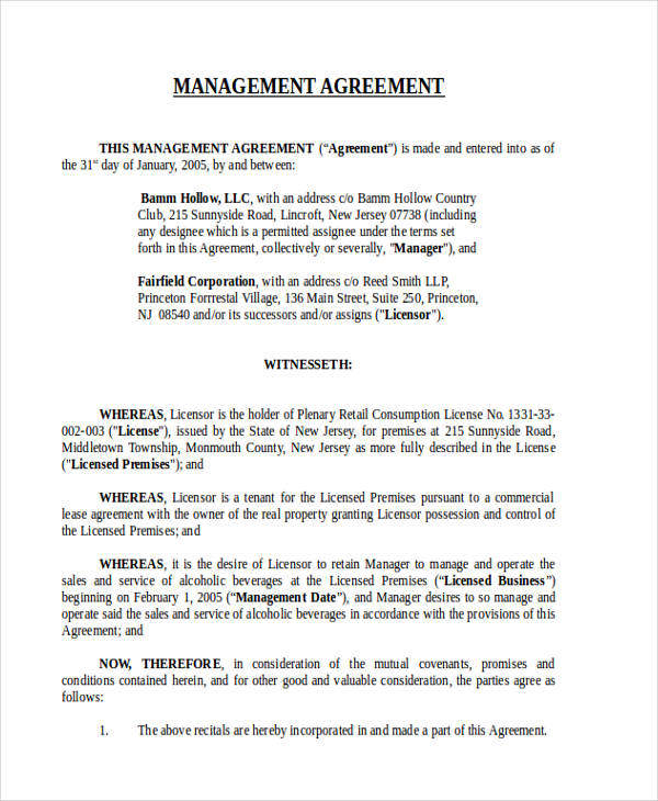 58+ Management Agreement Examples and Samples - commercial rent agreement format