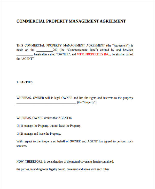 40+ Commercial Agreement Examples and Samples - management agreement