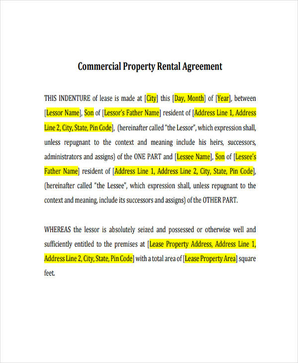 40+ Commercial Agreement Examples and Samples - property lease agreement template
