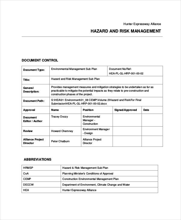 30+ Examples of Risk Plans - risk management plan template