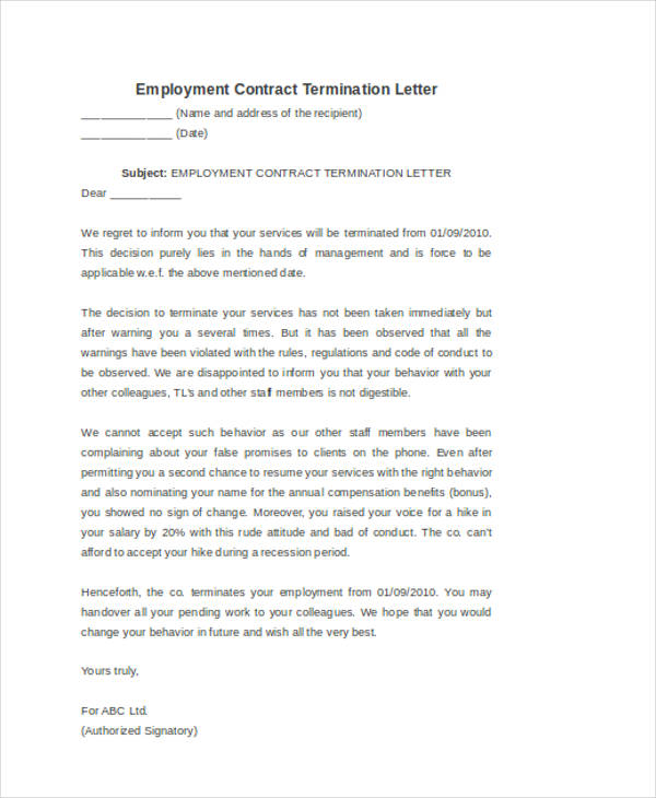 53+ Termination Letter Examples  Samples - PDF, DOC - Employee Separation Letter