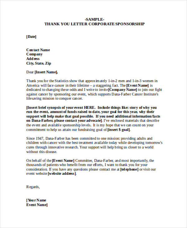 69+ Thank-You Letter Examples - how to write a sponsor letter