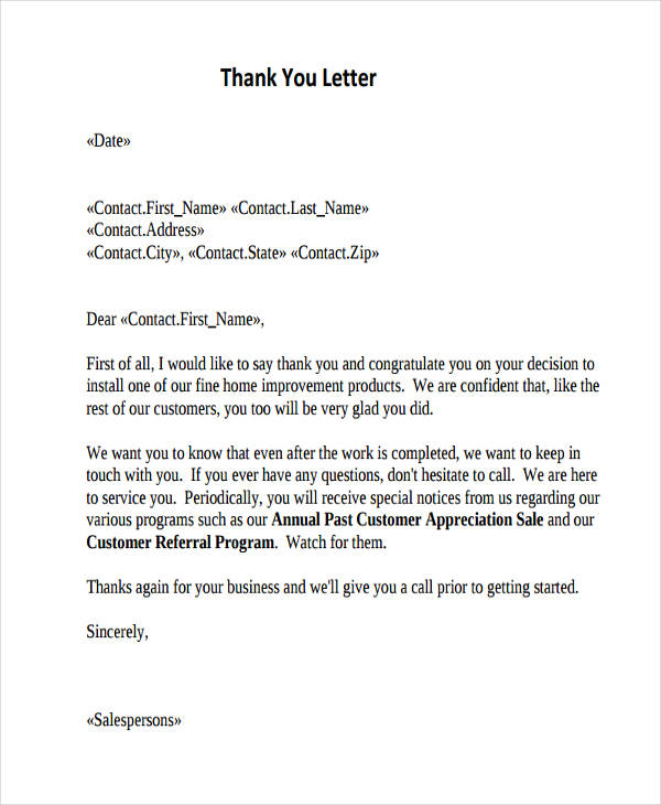 Thank-You Letters - sample thank you for your business letter