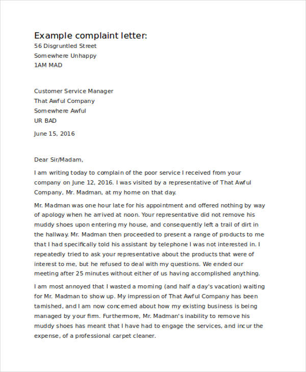 30+ Complaint Letter Examples  Samples - PDF, DOC - complaint letter examples