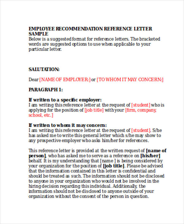 79+ Examples of Recommendation Letters - employer recommendation letter sample