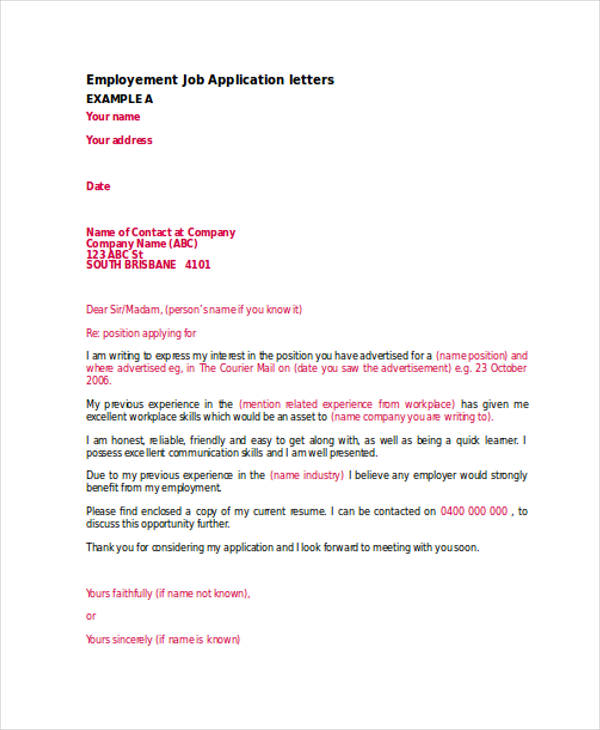 46+ Application Letter Examples  Samples - PDF, DOC - Cover Letter For Company Not Hiring