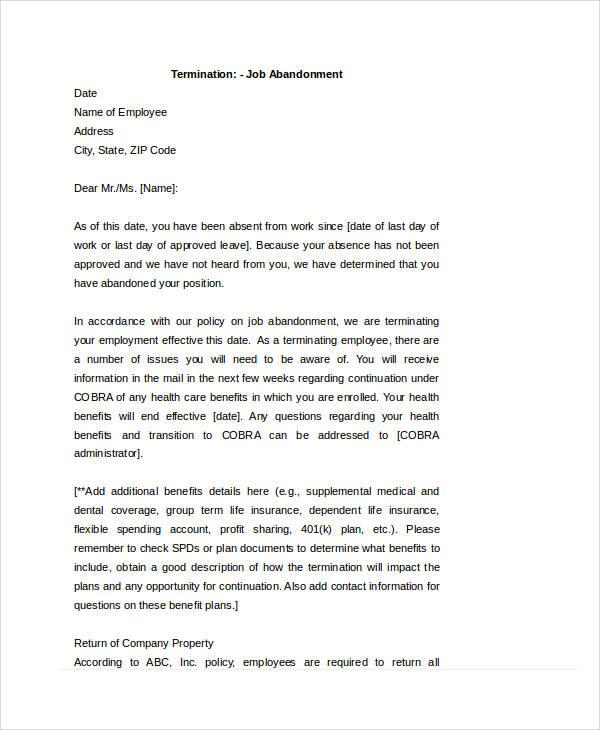 48+ Formal Letter Examples and Samples - PDF, DOC - termination letter description
