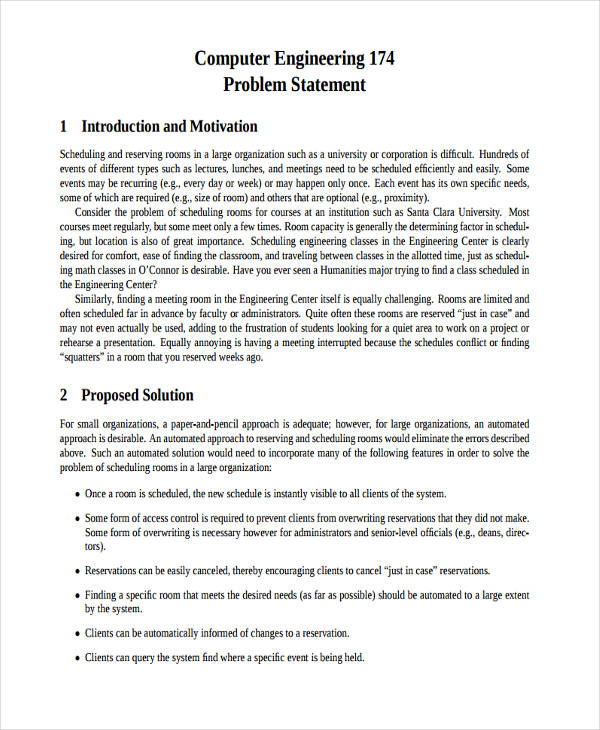6+ Problem Statement Examples  Samples - PDF - problem statement example