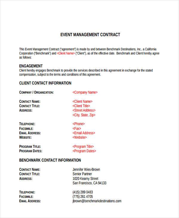 event management agreement - Onwebioinnovate - management agreement