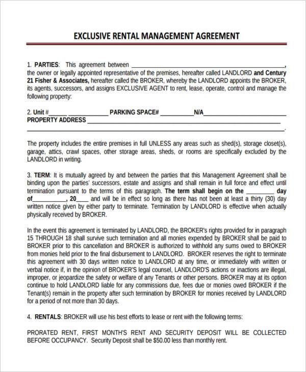 58+ Management Agreement Examples and Samples - property management agreements