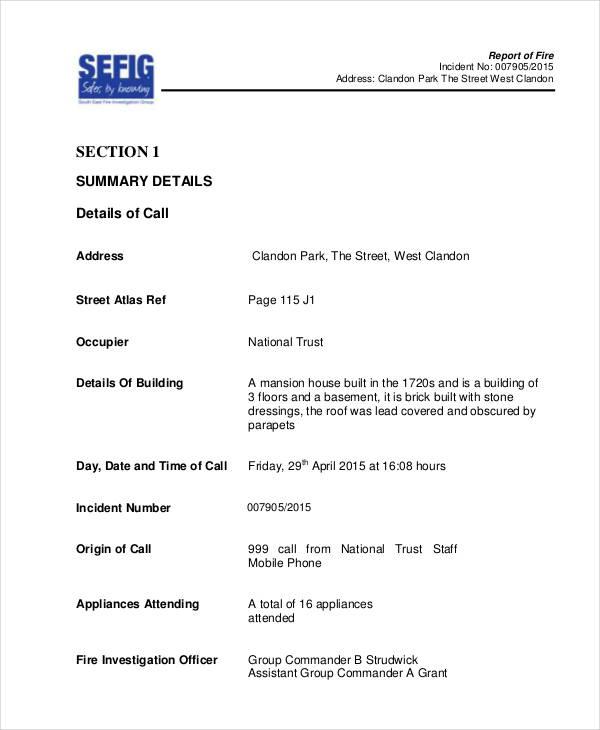 sample fire incident report - Towerssconstruction