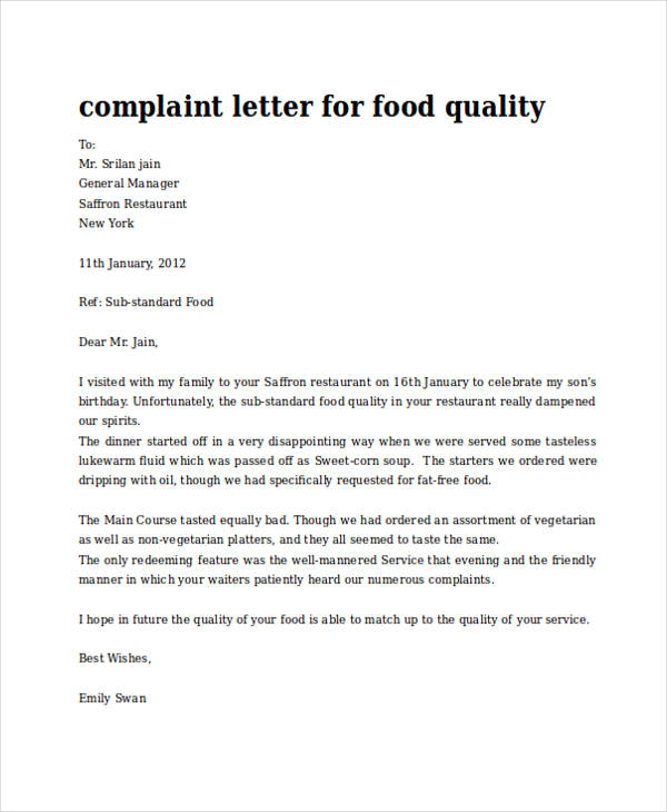 letter of complaint samples - Ozilalmanoof