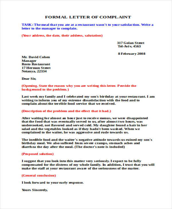 Complaint Letter To The Landlord Free Sample Letters 30 Complaint Letter Examples Samples