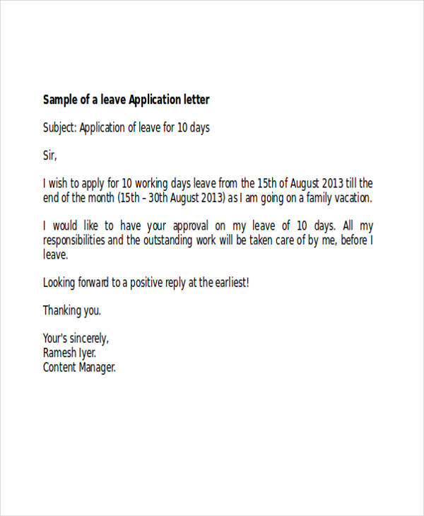 Formal Sick Leave Letter Sick Leave Request Sample Resume Cover - format of leave application form