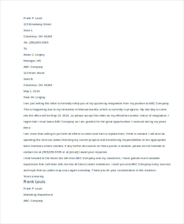 49+ Resignation Letter Examples - writing internship resignation letter