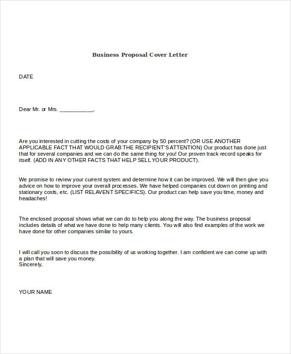 21+ Business Proposal Letter Examples - work proposal