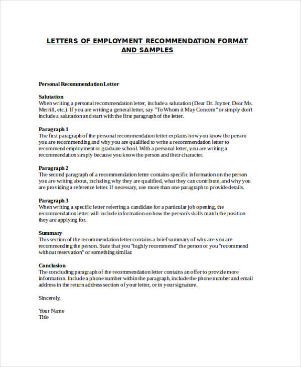 how to write a general letter of recommendation