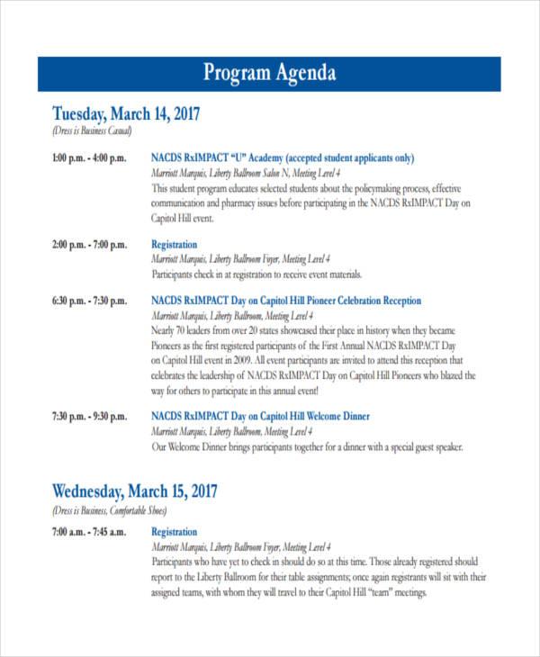 sample event agendas
